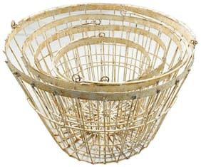 Rustic World LLC Set of 4 Round Wire Nesting Baskets w/Handle, Multi/White