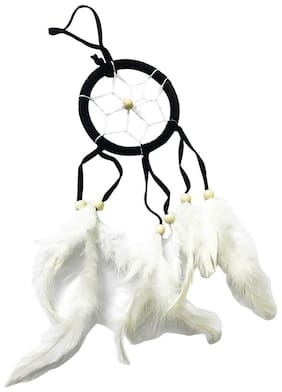 Ryme Car & Wall Hanging Dream Catcher, Attract Positive Dreams Wool Windchime  (Green )
