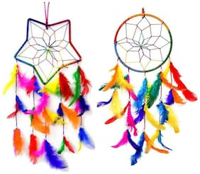 Ryme  Combo of Star and Circle Multi Color Dream Catcher Wall Hanging for Home/Office