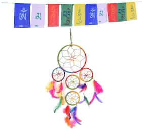 Ryme Wall Decor & Hangings 6 inch dream catcher with tibetian flag