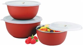 S&S Microwave Safe Stainless Steel Plastic Coated Euro Bowl Set of 3 (800, 1400 & 1700ml) Red