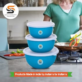 S&S Microwave Safe Stainless Steel Plastic Coated Euro Bowl Set of 3 (500, 800 & 1400ml) TURQUOISE