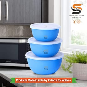S&S Microwave Safe Stainless Steel Plastic Coated Euro Bowl Set of 3 (800, 1400 & 1700ml) BLUE