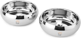 S&S Stainless Steel Premium Quality Double Walled Belly Bowl Set for Dryfruits/Sweets/Chocolates (Set of 02; Color: Steel Mirror Finish; Design: Belly; Cap: 2x300ml)