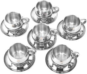 S&S Stainless Steel Premimum Quality Double Walled Insulated Cup & Saucer Set (Pack of 6; Shape: Round; Color: Steel Mirror Finish; Cap: 100 ml Each)