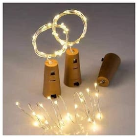 S4 20 LED Wine Bottle Cork Copper Wire String Lights 2M/7.2FT Battery Operated Diwali Decoration Light (Warm White)