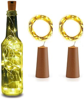 S4 20 LED Wine Bottle Cork Lights Copper Wire String Lights,2m/7.2ft Battery Operated  for Indoor & Outdoor Decorations (Set of 2)