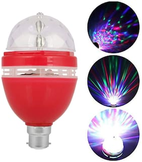 S4 LED Crystal 360 Rotating Bulb Magic Disco LED Rotating Bulb Light Lamp for Party Home Diwali (Assorted Color)