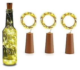 S4 Wine Bottle Cork Copper Wire String Lights,2m Battery Operated for Diwali,Christmas,Valintine,Decoration (Set of 3)