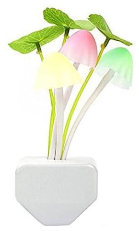S4D Automatic Colour Changing Mushroom Plant Shape LED Night Light Plug Lamp with Smart Sensor Auto on-Off