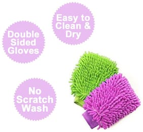 S4D Pack of 2 Microfiber Dusting Cleaning Gloves Double-Sided for Home, Office, Kitchen