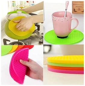 S4D Round Shape Silica Gel Anti Hot Heat Resistant Pot Holder Disc Pads Car Dashboard Anti-Slip-resistant Pad Dining Table Mat Placemat Coasters Assorted colors Set of 4 pcs