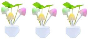 S4D Stylish Mushroom Shape Automatic Sensor LED Color Changing Light Night Lamp Multi - Pack of 3