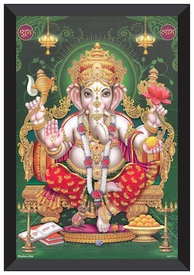 SAF 'ganesha' High quality UV Textured Religious Framed Painting 28 cm X 35.5 cm