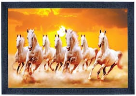 SAF Seven Running Horses UV Coated Digital Reprint Painting 13.5 inch X 19.5 inch