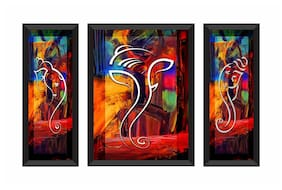 SAF UV Textured Set of 3 Ganesha Modern Art Print Framed Painting 22 inch X 13.5 inch