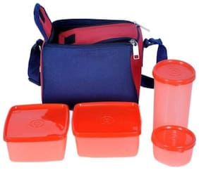 SAFE HEED 4 Containers Plastic Lunch Box - Assorted