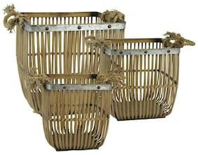 "Sagebrook Home Set of 3 Bamboo/Rope Baskets, 15.75"", Brown - 13579-02"