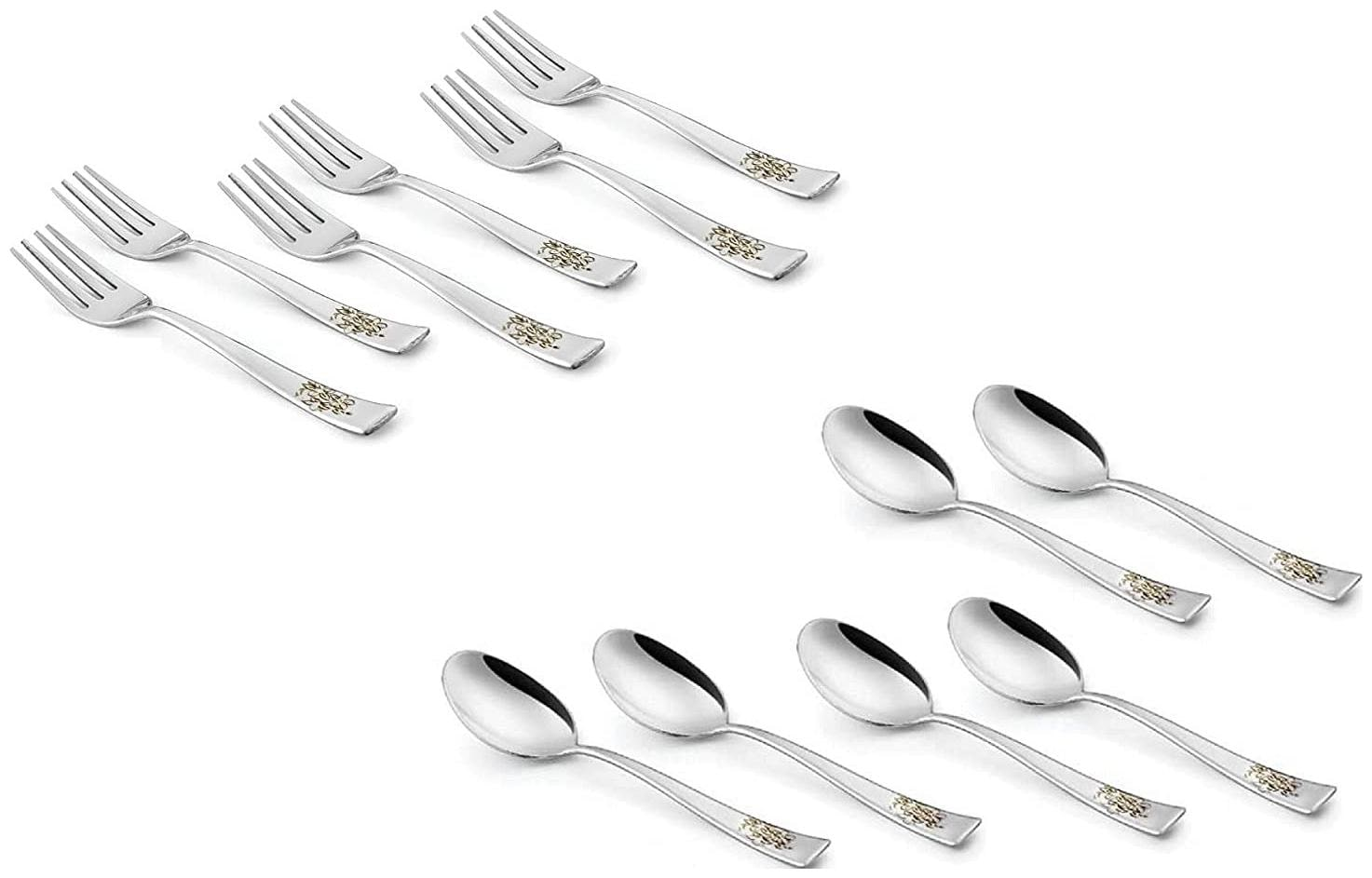 SAGER Platinum Collection 12 Piece Stainless Steel Cutlery Set  Table Spoon and Dinner Fork Set   6 Table Spoons, 6 Dinner Forks with Permanent Floral