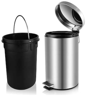 SAGER  Platinum Collection Stainless Steel Plain Pedal Dustbin/Garbage Bin with Plastic Bucket- 8''x13'' (7 Litre)