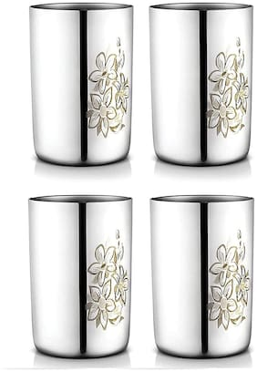 SAGER  Platinum Collection Stainless Steel Drinking Glass/Tumbler for Water, Juice, with Permanent Laser Print Floral Design (300 ml)- Set of 4 Pieces