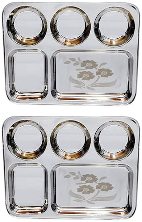 SAGER  Stainless Steel Lunch/Dinner Plate/Bhojan Thali 5 in 1 Compartments with beautiful floral laser design Set of 2