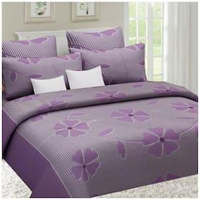 Sai Arpan Cotton Floral Double Size Bedsheet ( 1 Bedsheet With 2 Pillow Covers , Purple )