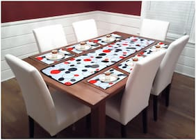 Sai Arpan's 7 Piece PVC Table Mats with Table Runner for Dining Table