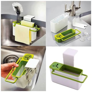 Saleh Suction Cup Base Kitchen Brush Sponge Sink Draining Towel Holder Washing Rack