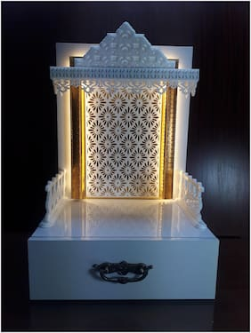Sangam Ad Wooden Temple with LED Light For Home & Office | Pooja Mandir.