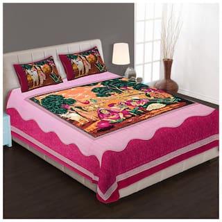 SHRIHANS Cotton Rajasthani Jaipuri Print Double Size Bedsheet 140 TC ( 1 Bedsheet With 2 Pillow Covers , Multi )