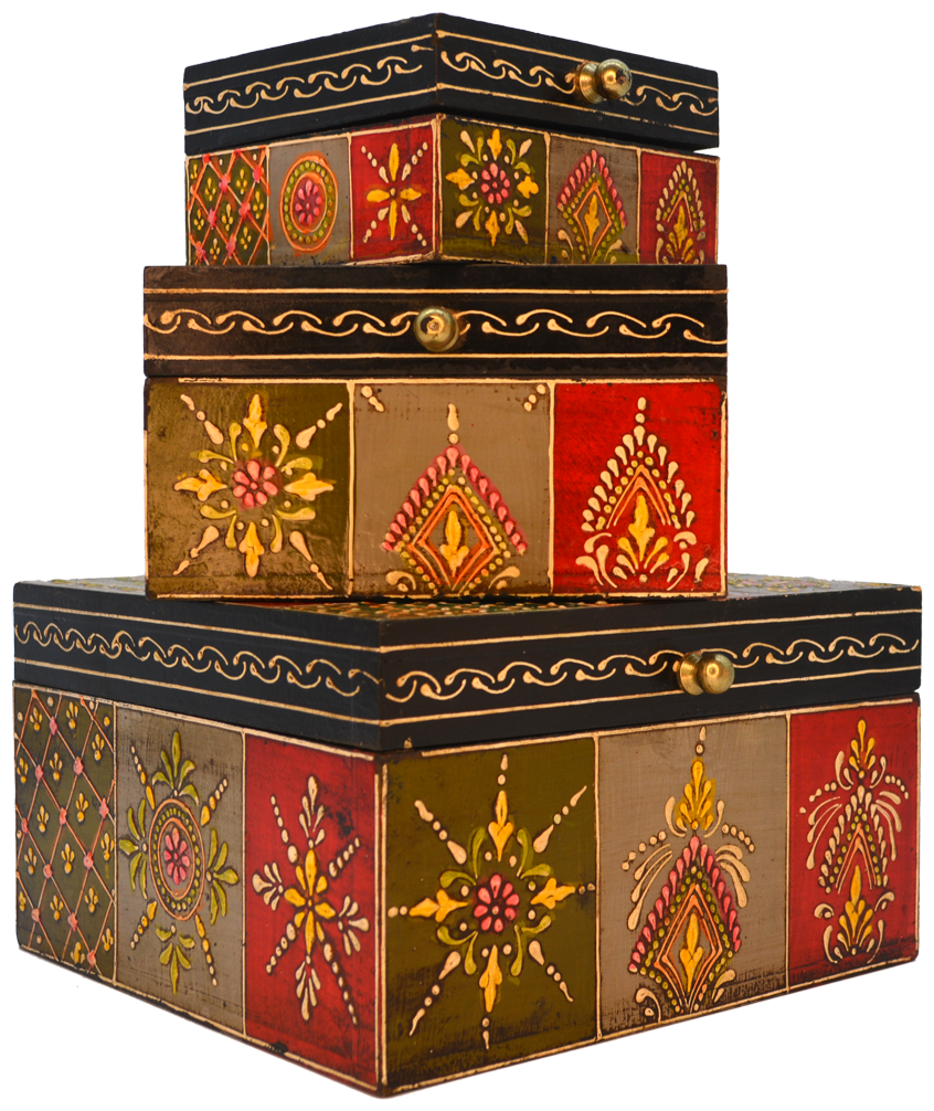 Santarms Handcrafted Wooden Jewellery Boxes Set