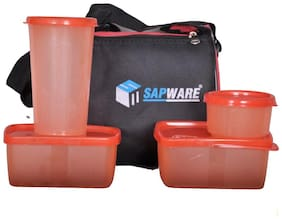 SAPWARE 4 Containers Plastic Lunch Box - Assorted