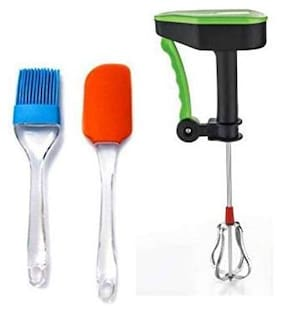 SAPWARE Plastic Assorted POWER FREE HAND BLENDER WITH Silicone Series Spatula and Brush Set