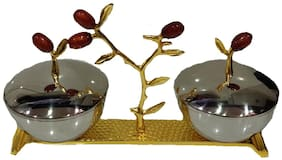 SARVSIDDHI Aluminium Golden Tray with Attached Steel Bowl