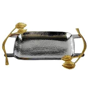 Sarvsiddhi Aluminium Gold - Silver Rectangular Serving Platter/Tray