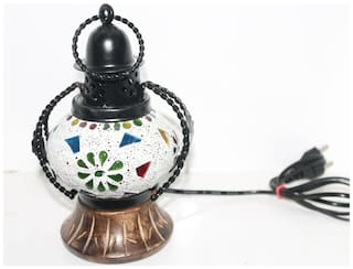 Sarvsiddhi Handcrafted Wooden Glass Mosaic Wall Hanging Table Lamp Showpiece