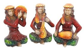 Sarvsiddhi Terracotta Rajasthani Colored Musical Showpiece Set of 3
