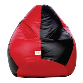 Sattva Classic XL Bean Bag Cover (with Beans )Dual Colour Filled-Black and Red