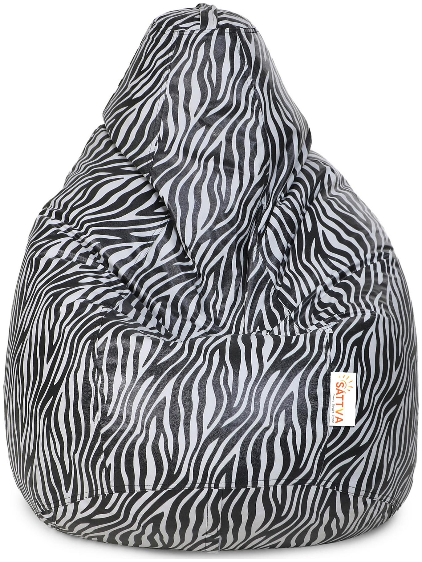 Miraculous Sattva Classic Style Zebra Print Xl Bean Bag Cover With Beans Pdpeps Interior Chair Design Pdpepsorg