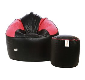 Sattva Combo Muddha Bean Bag Cover Black Pink And Round Footstool Cover Black Pink Piping