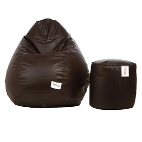 Sattva Combo Classic XL Bean Bag Cover And Round FootStool - Brown