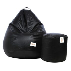 Sattva Combo Classic XL Bean Bag Cover And Round Footstool Cover - Black