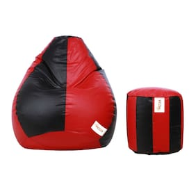 Sattva Combo Classic XXL Bean Bag Cover And Round FootStool - Black Red
