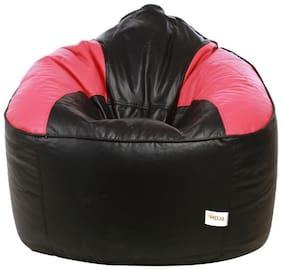 Sattva Muddha Sofa XXXL Bean Bag Filled (with Beans) - Black and Pink