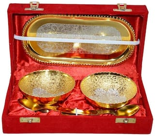 Satya Brass Set Of Gold and Silver-finished Bowls and Spoons With Tray