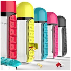 Satya Combine Water Bottle With Removable 7 Day Pill Medicine Organizer Drinking Cup Assorted Color