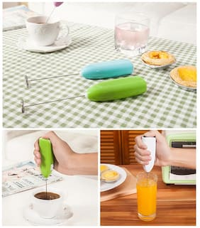 Satya Imported Portable Hand Blender For Lassi, Milk, Coffee, Egg Beater Battery Operated (Colours Vary Without Batteries)