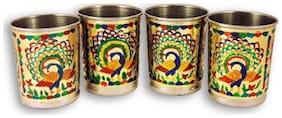 Satya stainless steel pack of 4 royal meenakari glass set Peacock Design-Handmade