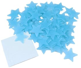 Satya Vipal Blue Color Fluorescent Glow in The Dark Star Wall Sticker(100 Stars)